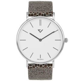 Prisma Zilverkleurig Heren Horloge met Bruine Vacht Horlogeband