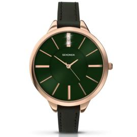 Robuust Roségoudkleurig Sekonda Horloge voor Dames met Groene Wijzerplaat