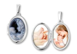 Ovaalvormig Zilveren Medaillon met Moeder en Kind Camee - Names4ever