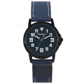 Zwart Edelstalen Kids Horloge met Donkerblauw Canvas
