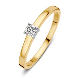 Excellent Jewelry Gouden Ring met 0,16 crt. Briljant