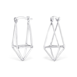 Zilveren Geometrische Vorm Oorhangers met Franse Haak