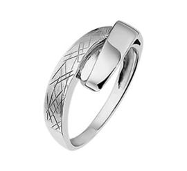 Abstracte Gescratchte Dames Ring van Gerhodineerd Zilver