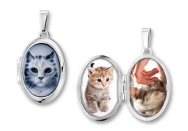Ovaalvormig Zilveren Medaillon met Kat Camee - Names4ever