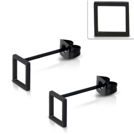 Vierkante Opengewerkte Edelstalen Oorknopjes 10mm