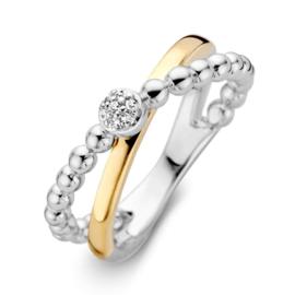 Excellent Jewelry Zilveren Bolletjes Ring met Geelgoud en Zirkonia