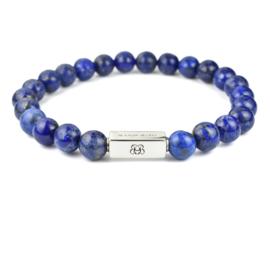 Silver Premium   Lapis Lazuli Kralen Armband van Blaauw Bloed