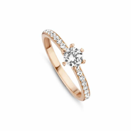 Egale Roségouden Ring van MY iMenso Gold met Zirkonia Kopstuk