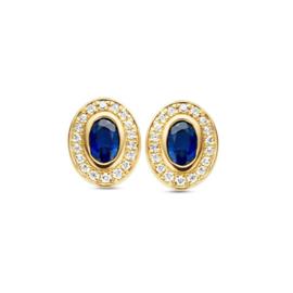 Excellent Jewelry Geelgouden Oorstekers met Briljanten en Saffier