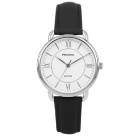 Prisma Zilverkleurig Dames Horloge met Zwart Lederen Horlogeband