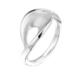 Slanke Gerhodineerd Zilveren Ring met Matte Lus Voorkant / maat 17,2