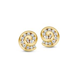 Excellent Jewelry Geelgouden Twirl Oorstekers met Zirkonia's