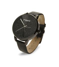 Spark Crono Horloge met Zwart Lederen Horlogeband