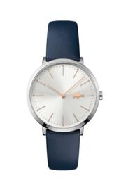 Lacoste Zilverkleurig Dames Horloge met Blauw Lederen Horlogeband