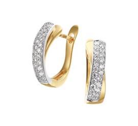 Geelgouden Klapcreolen met Rechthoekige Witgouden Diamant 0.33 ct Strook