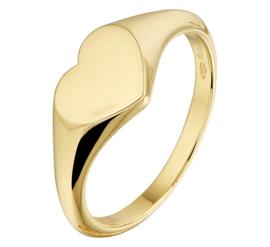 Gouden Zegelring voor Dames met Hartvormig Gravure Vlak