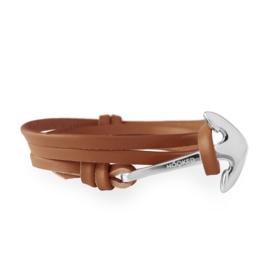 Hooked Cognac Lederen Armband met Zilverkleurig Anker