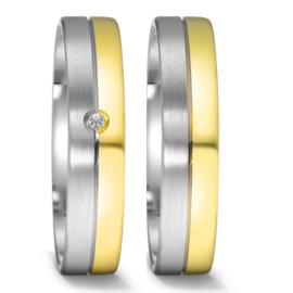 Zilveren met 9 Karaat Trouwringen Set met Diamant