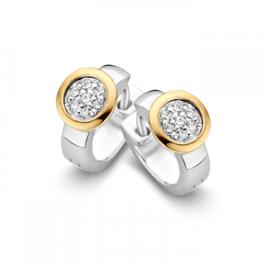 Excellent Jewelry Zilveren Creolen met Gouden Kopstuk en Zirkonia