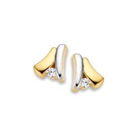 Excellent Jewelry Bicolor Oorstekers met Kleurloze Zirkonia