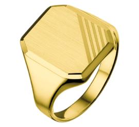 Matte Gouden Zegelring voor Heren met Diagonale Lijnen - Graveer Ring
