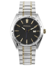 Zilverkleurig Heren Horloge met Zwarte Lijnen Wijzerplaat en Goudkleurige Decoraties