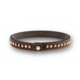 Grijze Armband met Bronskleurige Swarovski Kristallen