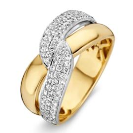 Excellent Jewelry Brede Geelgouden Ring met Witgouden Diamanten Strook