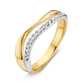 Excellent Jewelry Golvende Abstracte Bicolor Dames Ring met Diamanten