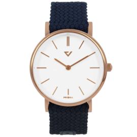 Prisma Roségoudkleurig Unisex Horloge met Blauwe Nylon