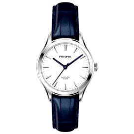 Prisma Zilverkleurig Balm Dames Horloge met Blauwe Band