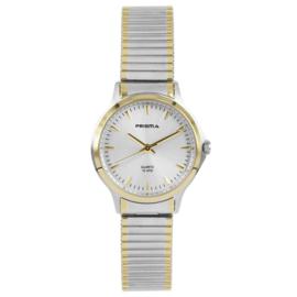 Prisma Luxueus Zilver- en Goudkleurig Dames Horloge met Rekband