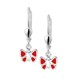 Rode Emaille Vlinder Oorhangers van Zilver