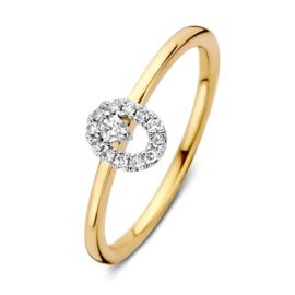 Excellent Jewelry Bicolor Ring met Opengewerkte Ovaal met Briljanten