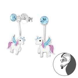 Unicorn Ear Jacket Oorbellen met Blauwe Zirkonia Steentje