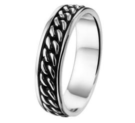 Heren Ring van Geoxideerd Zilver met Gepolijst Zilver