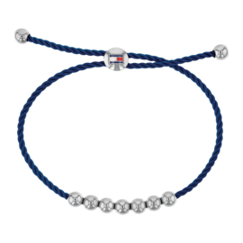 Blauw Koord Dames Armband met Edelstalen Bolletjes van Tommy Hilfiger TJ2780003