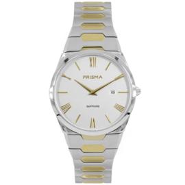 Prisma Zilverkleurig Heren Horloge met Goudkleurige Elementen