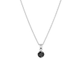 Zilveren Collier met Zwarte Zirkonia