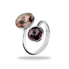 Piruli Zilveren Ring met Beige en Paarse Swarovski kristallen