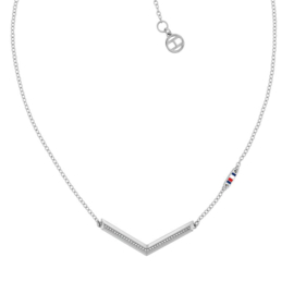 Zilverkleurig Collier met V-vormige Hanger voor Dames van Tommy Hilfiger