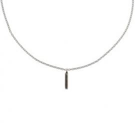Zilveren Anker Collier met Verticale Balk Hanger