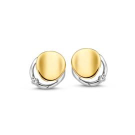 Excellent Jewelry Bicolor Oorstekers met Glinsterende Zirkonia