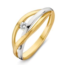 Excellent Jewelry Bicolor Opengewerkte Ring met Zirkonia