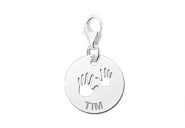 Names4ever Ronde Charm-Naambedel Baby Handjes ZNB09