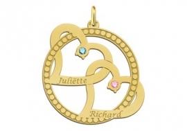 Dubbel Hart Gouden Hanger + Geboortestenen en Graveer Namen Names4ever