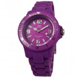 Q&Q Horloge met een horlogeband van paars rubber