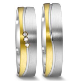 Matte 9 Karaat met Zilveren Trouwringen Set met Diamanten