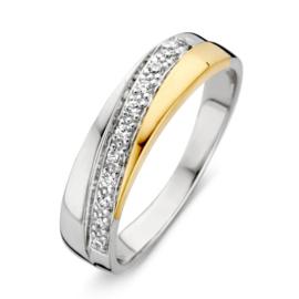 Excellent Jewelry Bicolor Dames Ring met Zirkonia Strook
