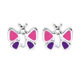 Roze met Paarse Emaille Driehoek Vlinder Oorknoppen